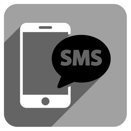 short message service: Phone SMS long shadow vector icon. Style is a flat phone sms iconic symbol on a gray square background. Illustration