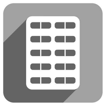 blisters: Pill Blister long shadow vector icon. Style is a flat pill blister iconic symbol on a gray square background. Illustration