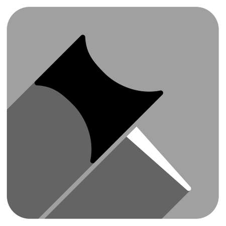 iconic: Pin long shadow vector icon. Style is a flat pin iconic symbol on a gray square background.