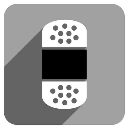 iconic: Plaster long shadow vector icon. Style is a flat plaster iconic symbol on a gray square background. Illustration
