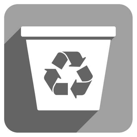 papelera de reciclaje: Recycle Bin long shadow vector icon. Style is a flat recycle bin iconic symbol on a gray square background.