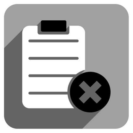 numerate: Reject Form long shadow vector icon. Style is a flat reject form iconic symbol on a gray square background.