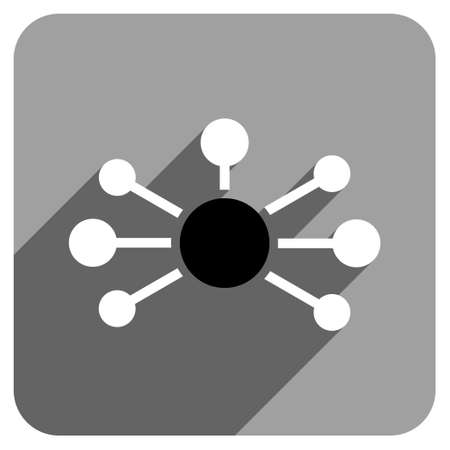 distribute: Relations long shadow vector icon. Style is a flat relations iconic symbol on a gray square background. Illustration