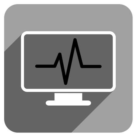 monitoring: Pulse Monitoring long shadow vector icon. Style is a flat pulse monitoring iconic symbol on a gray square background. Illustration