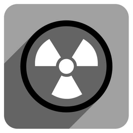 danger of radiation: Radiation Danger long shadow vector icon. Style is a flat radiation danger iconic symbol on a gray square background. Illustration