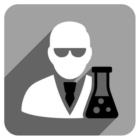 phial: Scientist With Flask long shadow vector icon. Style is a flat scientist with flask iconic symbol on a gray square background.