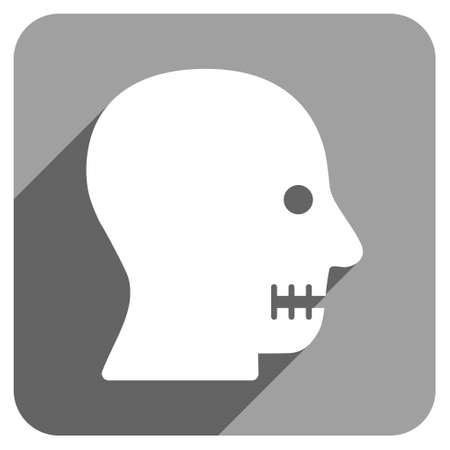 sewn: Sewn Mouth long shadow vector icon. Style is a flat sewn mouth iconic symbol on a gray square background.