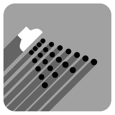 iconic: Shower long shadow vector icon. Style is a flat shower iconic symbol on a gray square background.