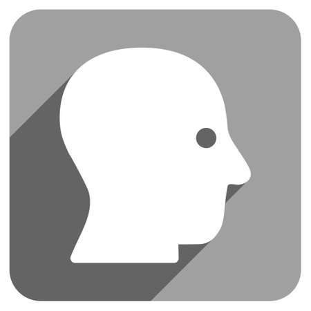 silent: Silent Head long shadow vector icon. Style is a flat silent head iconic symbol on a gray square background.