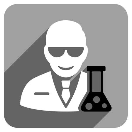 retort: Scientist With Retort long shadow vector icon. Style is a flat scientist with retort iconic symbol on a gray square background.