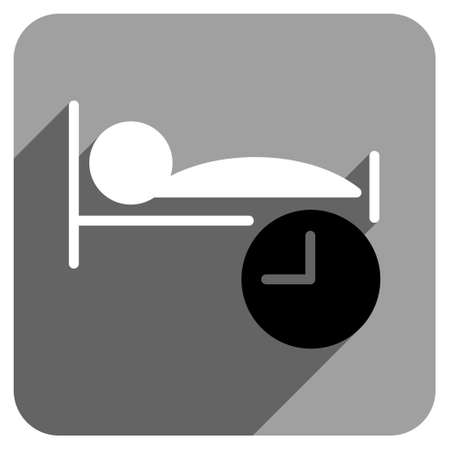 iconic: Sleep Time long shadow vector icon. Style is a flat sleep time iconic symbol on a gray square background. Illustration