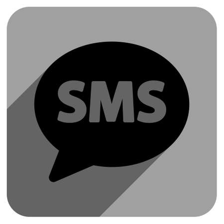short message service: SMS long shadow vector icon. Style is a flat sms iconic symbol on a gray square background.