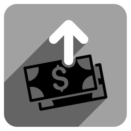 iconic: Spend Money long shadow vector icon. Style is a flat spend money iconic symbol on a gray square background.