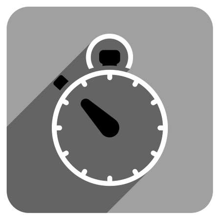 iconic: Stopwatch long shadow vector icon. Style is a flat stopwatch iconic symbol on a gray square background. Illustration