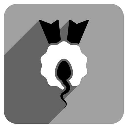 favorite number: Sperm Winner long shadow vector icon. Style is a flat sperm winner iconic symbol on a gray square background. Illustration