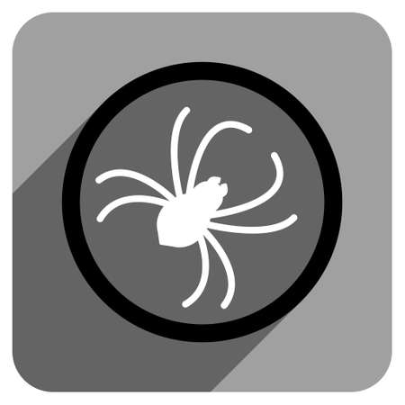 web crawler: Spider long shadow vector icon. Style is a flat spider iconic symbol on a gray square background.