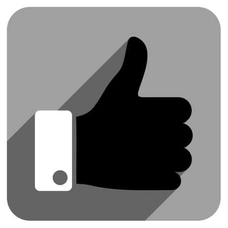 thumb: Thumb Up long shadow vector icon. Style is a flat thumb up iconic symbol on a gray square background. Illustration