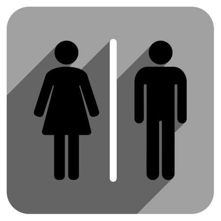toilette: Toilet People long shadow vector icon. Style is a flat toilet people iconic symbol on a gray square background. Illustration