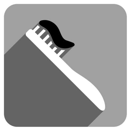 iconic: Tooth Brush long shadow vector icon. Style is a flat tooth brush iconic symbol on a gray square background.
