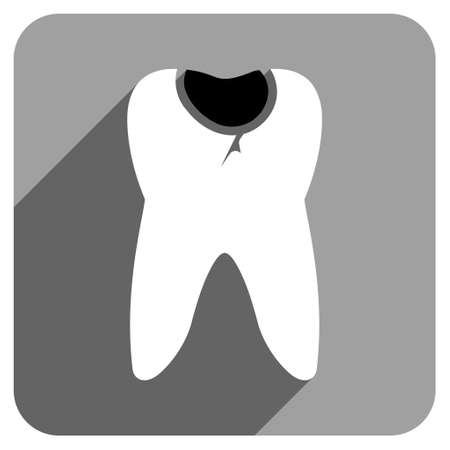 cranny: Tooth Caries long shadow vector icon. Style is a flat tooth caries iconic symbol on a gray square background.