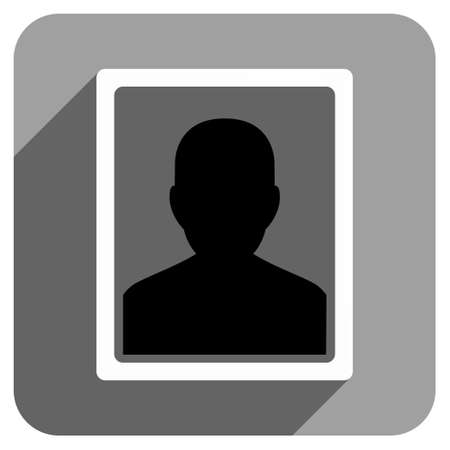 iconic: User Portrait long shadow vector icon. Style is a flat user portrait iconic symbol on a gray square background. Illustration