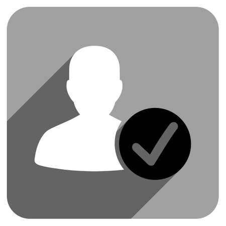 valid: Valid User long shadow vector icon. Style is a flat valid user iconic symbol on a gray square background.