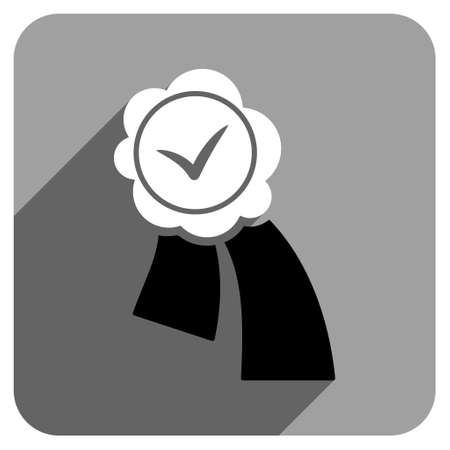 validation: Validation Seal long shadow vector icon. Style is a flat validation seal iconic symbol on a gray square background. Illustration