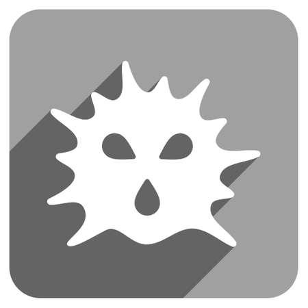ameba: Virus Estructura larga sombra del icono del vector. El estilo es un símbolo icónico estructura del virus plano sobre un fondo cuadrado gris.