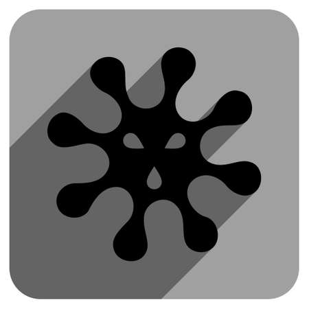 ameba: Virus long shadow vector icon. Style is a flat virus iconic symbol on a gray square background.