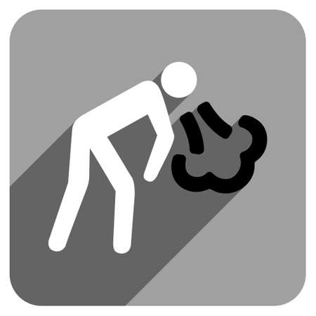 vomiting: Vomiting Person long shadow vector icon. Style is a flat vomiting person iconic symbol on a gray square background. Illustration