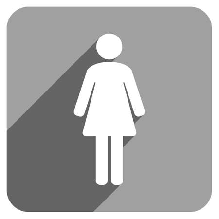 Woman WC long shadow vector icon. Style is a flat woman wc iconic symbol on a gray square background. Illustration