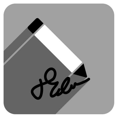 iconic: Writing Pencil long shadow vector icon. Style is a flat writing pencil iconic symbol on a gray square background. Illustration
