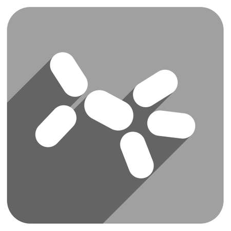 idler: Yeast long shadow vector icon. Style is a flat yeast iconic symbol on a gray square background.