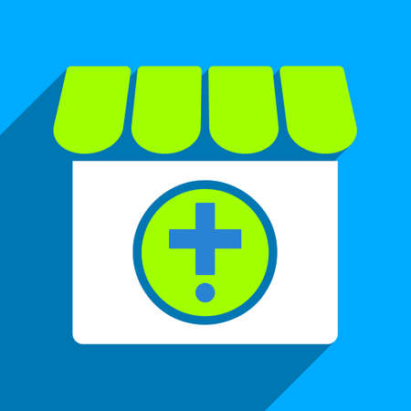 polyclinic: Drugstore long shadow vector icon. Style is a flat drugstore iconic symbol on a blue square background.