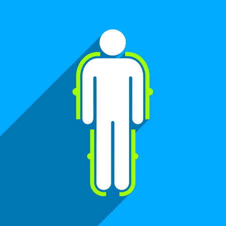 robot with shield: Exoskeleton long shadow vector icon. Style is a flat exoskeleton iconic symbol on a blue square background. Illustration