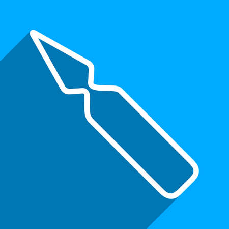 ampule: Empty Ampoule long shadow vector icon. Style is a flat empty ampoule iconic symbol on a blue square background. Illustration
