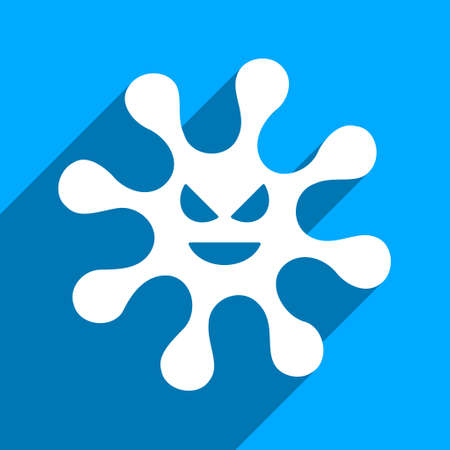 idler: Evil Bacteria long shadow vector icon. Style is a flat evil bacteria iconic symbol on a blue square background.