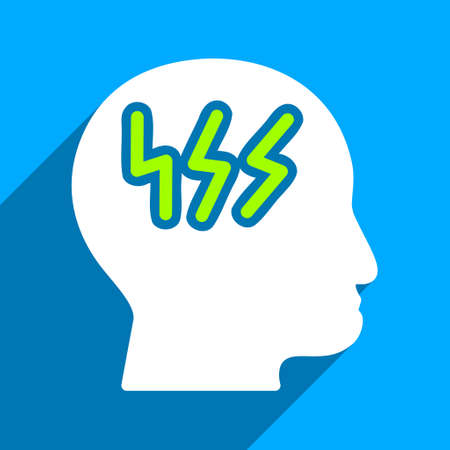 iconic: Brainstorming Head long shadow vector icon. Style is a flat brainstorming head iconic symbol on a blue square background.