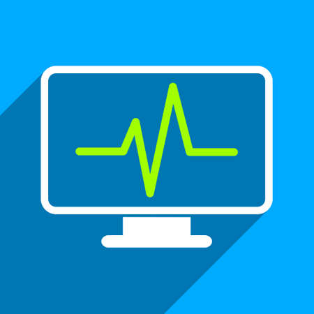 iconic: Cardiogram Monitoring long shadow vector icon. Style is a flat cardiogram monitoring iconic symbol on a blue square background.