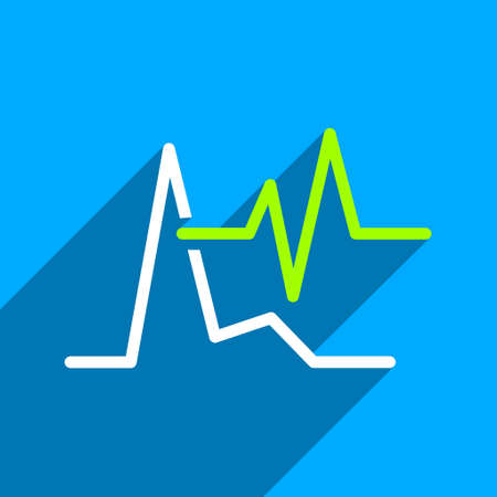 pulsating: ECG long shadow vector icon. Style is a flat ecg iconic symbol on a blue square background. Illustration
