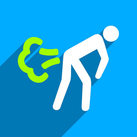 diarrhoea: Fart long shadow vector icon. Style is a flat fart iconic symbol on a blue square background. Illustration