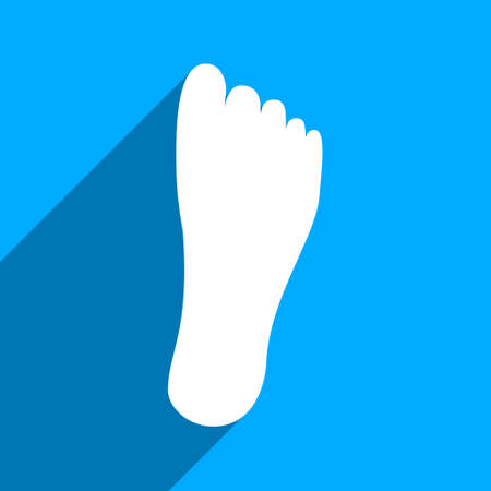 flat foot: Foot Sole long shadow vector icon. Style is a flat foot sole iconic symbol on a blue square background.