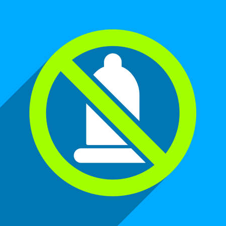 condoms: Forbidden Condom long shadow vector icon. Style is a flat forbidden condom iconic symbol on a blue square background.