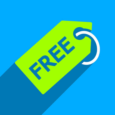 admittance: Free Tag long shadow vector icon. Style is a flat free tag iconic symbol on a blue square background.