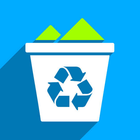papelera de reciclaje: Llena la papelera de reciclaje del icono del vector larga sombra. El estilo es una completa papelera de reciclaje símbolo icónico plano sobre un fondo cuadrado azul.