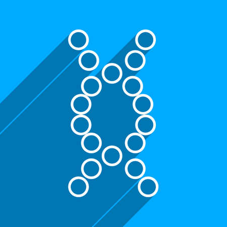 iconic: Genome long shadow vector icon. Style is a flat genome iconic symbol on a blue square background. Illustration