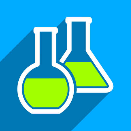 a solution tube: Glass Flasks long shadow vector icon. Style is a flat glass flasks iconic symbol on a blue square background.