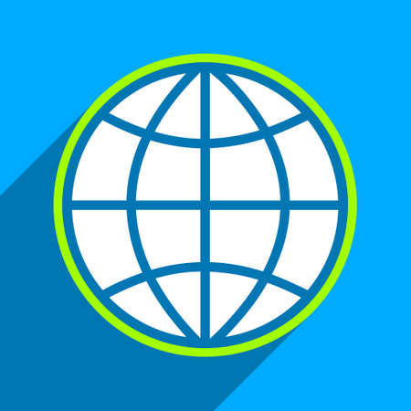 iconic: Globe long shadow vector icon. Style is a flat globe iconic symbol on a blue square background.