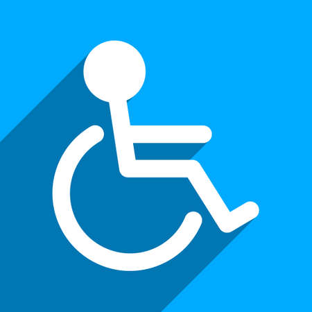 paralyze: Handicapped long shadow vector icon. Style is a flat handicapped iconic symbol on a blue square background.