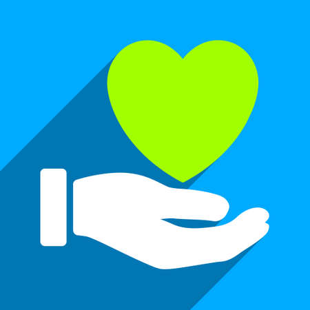 charity  symbol: Heart Charity Hand long shadow vector icon. Style is a flat heart charity hand iconic symbol on a blue square background. Illustration